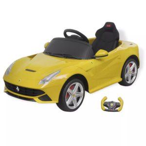 """pealeistutav auto """"Ferrari F12"""" kollane 6 V kaugjuhtimispuldiga"""
