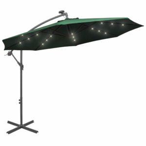 rippuv päikesevari LEDidega 300 cm metallist postiga