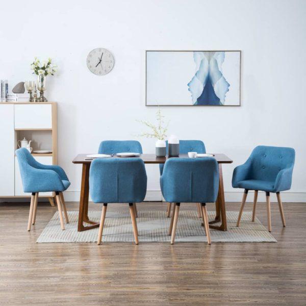 söögitoolid 6 tk kangaspolstriga 55 x 55 x 84 cm sinine