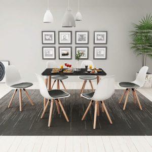 seitsmeosaline söögilaua ja toolide komplekt must ja valge