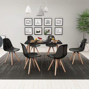 seitsmeosaline söögilaua ja toolide komplekt valge ja must
