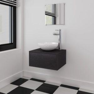 vidaXL-i kolmeosaline vannitoa mööbli- ja valamukomplekt must