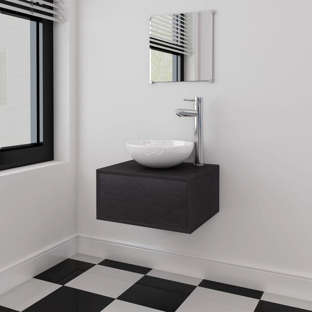 490dbddaf04 vidaXL-i kolmeosaline vannitoa mööbli- ja valamukomplekt must ...
