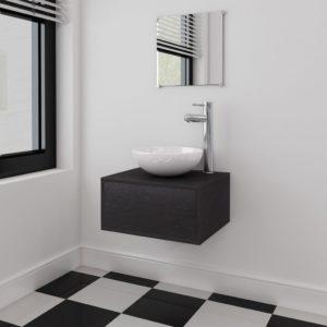 vidaXL-i neljaosaline vannitoamööbli komplekt valamu ja kraaniga