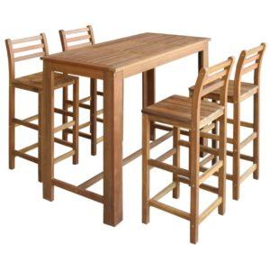 viieosaline baarilaua ja toolide komplekt akaatsiapuidust