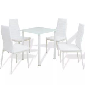viieosaline söögilaua ja tooli komplekt valge