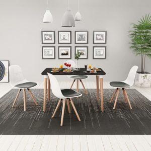 viieosaline söögilaua ja toolide komplekt must ja valge