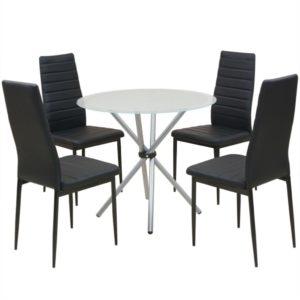 viieosaline söögilaua ja toolide komplekt must