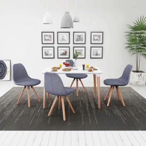 viieosaline söögilaua ja toolide komplekt valge ja helehall