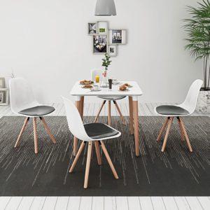 viieosaline söögilaua ja toolide komplekt valge ja must