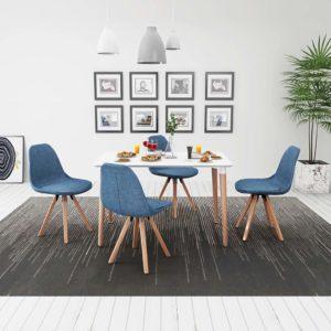viieosaline söögilaua ja toolide komplekt valge ja sinine