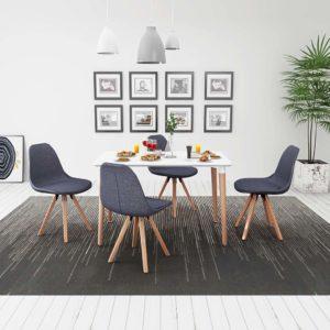 viieosaline söögilaua ja toolide komplekt valge ja tumehall