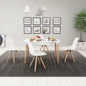 viieosaline söögilaua ja toolide komplekt valge