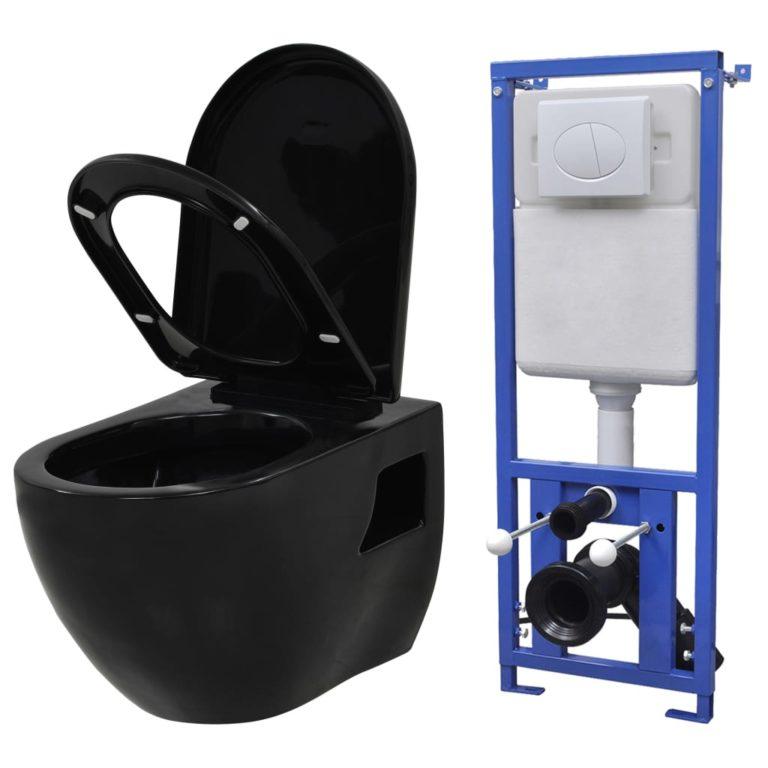 VidaXL seinale kinnituv WC-pott peidetud loputuskastiga