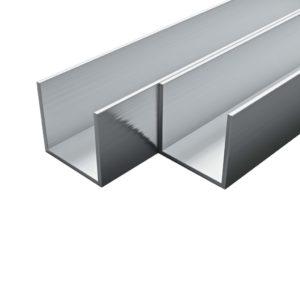 4 tk alumiiniumist karprauad U-profiil 1 m 20 x 20 x 2 mm