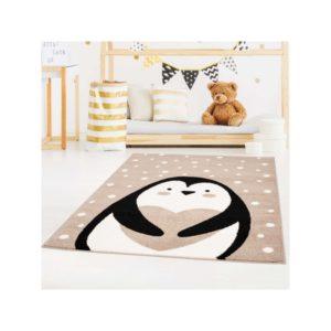 Pingviini pildiga pehme vaip lastetuppa, beež
