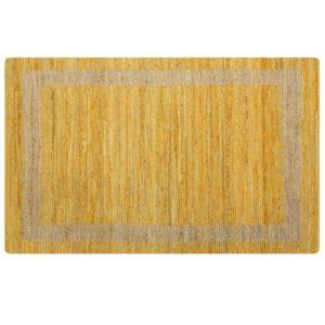 käsitsi valmistatud džuutvaip kollane 120 x 180 cm