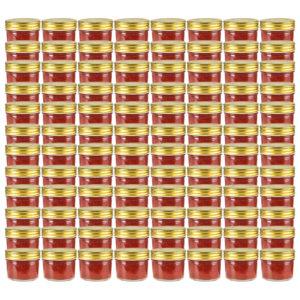 kuldsete kaantega klaasist moosipurgid 96 tk