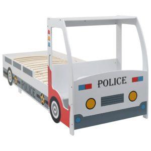 politseiauto kujuga lastevoodi koos kirjutuslauaga