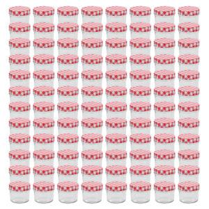 valgete ja punaste kaantega klaasist moosipurgid 96 tk