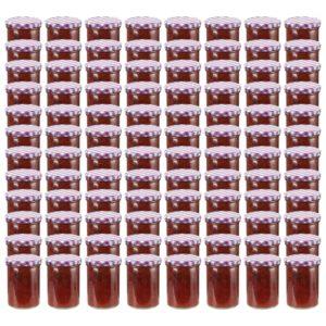 klaasist moosipurgid valge ja lilla kaanega 96 tk