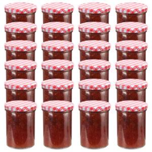 klaasist moosipurgid valge ja punase kaanega 24 tk
