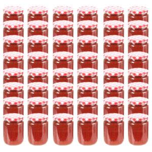 klaasist moosipurgid valge ja punase kaanega 48 tk