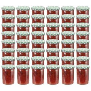 klaasist moosipurgid valge ja rohelise kaanega 48 tk