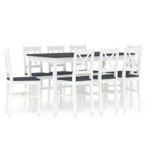 üheksaosaline söögitoakomplekt männipuit valge ja hall