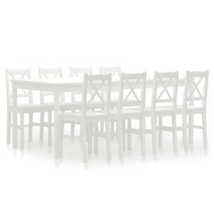 üheksaosaline söögitoakomplekt männipuit valge