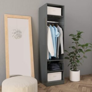 garderoob kõrgläikega hall 50 x 50 x 200 cm puitlaastplaat