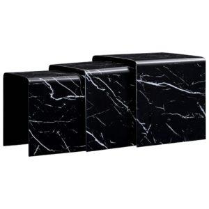 kohvilauad 3 tk must marmorefekt 42x42x41