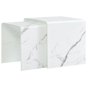 kohvilaud 2 tk valge marmorefekt 42x42x41