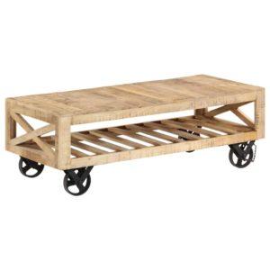 kohvilaud ratastega toekast mangopuidust 110 x 50 x 37 cm