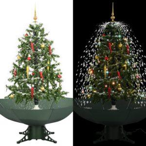 lumesajuga jõulukuusk vihmavarjualusega roheline 140 cm