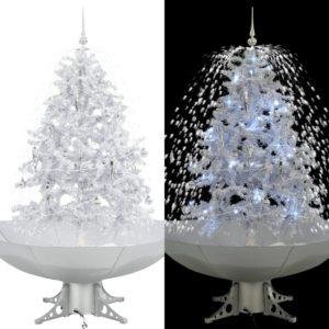 lumesajuga jõulukuusk vihmavarjualusega valge 140 cm