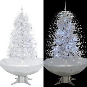 lumesajuga jõulukuusk vihmavarjualusega valge 170 cm