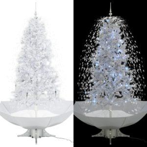 lumesajuga jõulukuusk vihmavarjualusega valge 190 cm