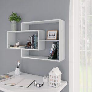 seinariiulid kõrgläikega valge 104 x 24 x 60 cm puitlaastplaat