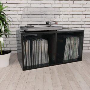 vinüülplaadikapp kõrgläikega must 71x34x36 cm puitlaastplaat