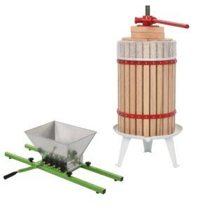2-osaline puuvilja- ja veinipressi ning purustaja komplekt