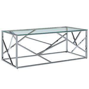 kohvilaud 120 x 60 x 40 cm karastatud klaas ja roostevaba teras