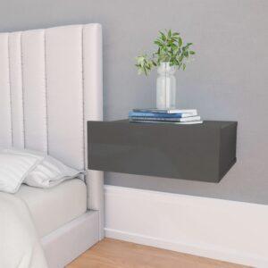 seina öökapp kõrgläikega hall 40 x 30 x 15 cm puitlaastplaat