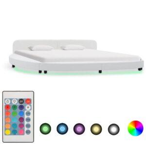 voodiraam LEDiga valge kunstnahast 180 x 200 cm