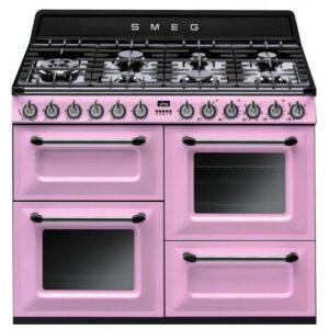 Gaasipliit Smeg Victoria, 7x gaas, 3x elektriahi, aurupuhastus, 110cm, roosa, Smeg