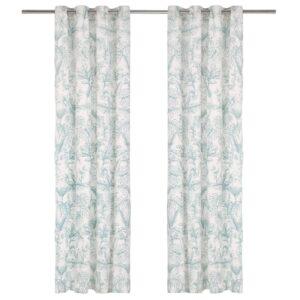 kardinad metallrõngad 2 tk puuvill 140 x 225 cm roheline lilled