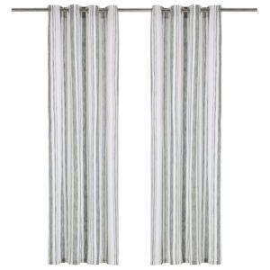 kardinad metallrõngad 2 tk puuvill 140 x 245 cm roheline triip
