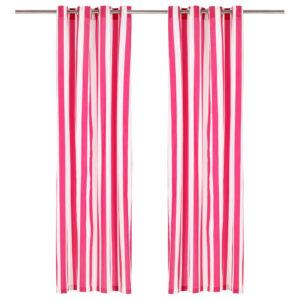 kardinad metallrõngastega 2 tk kangas 140 x 225 cm roosa triip