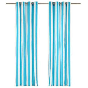 kardinad metallrõngastega 2 tk kangas 140 x 225 cm sinine triip