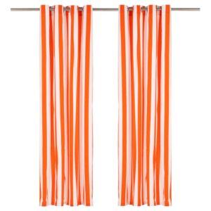kardinad metallrõngastega 2 tk kangas 140 x 245 cm oranž triip